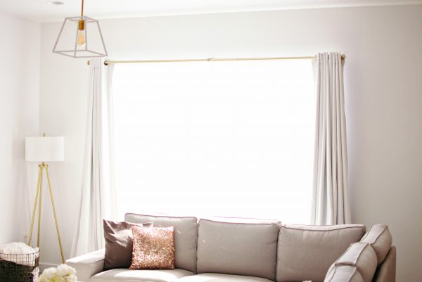 Curtains make for a cozy living room.