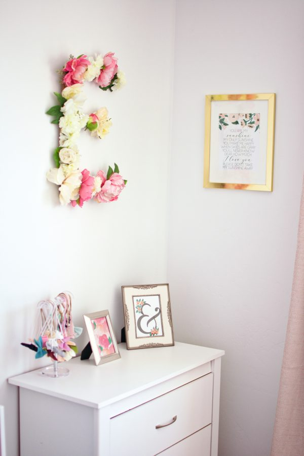 Gold and pink home decor on a budget in girls room