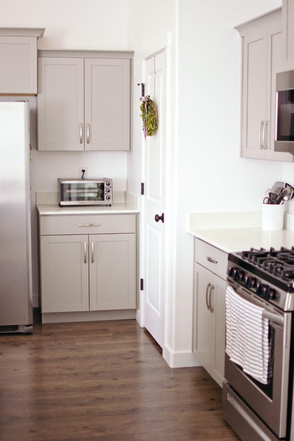 Kitchen decor with gray cabinets.