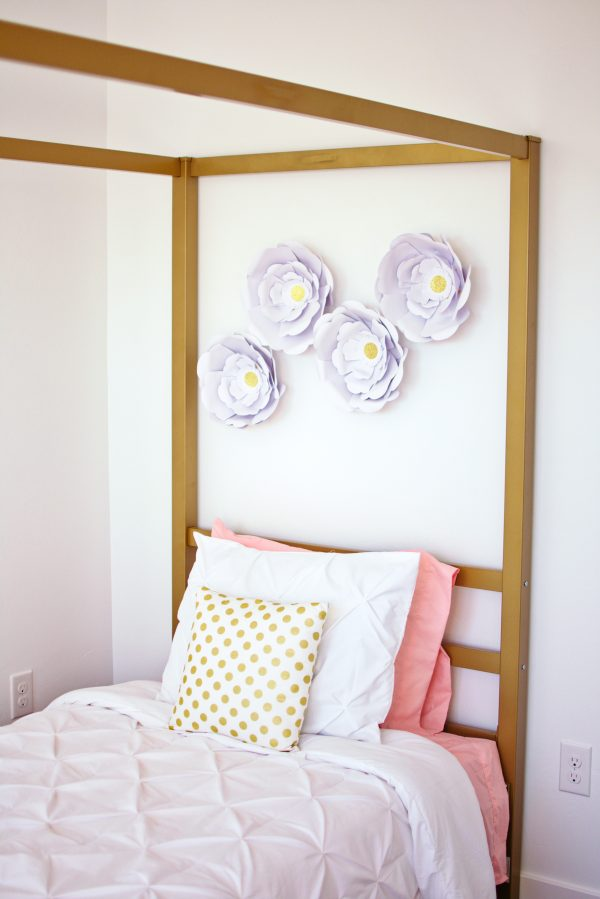 This gold canopy bed is a beautiful idea for a little girls bedroom.