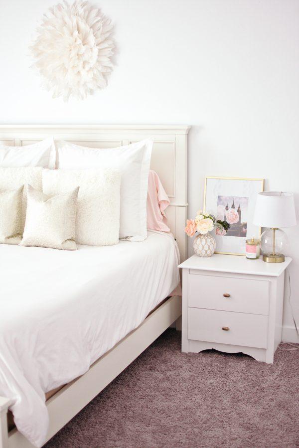 White master bedroom bedding.