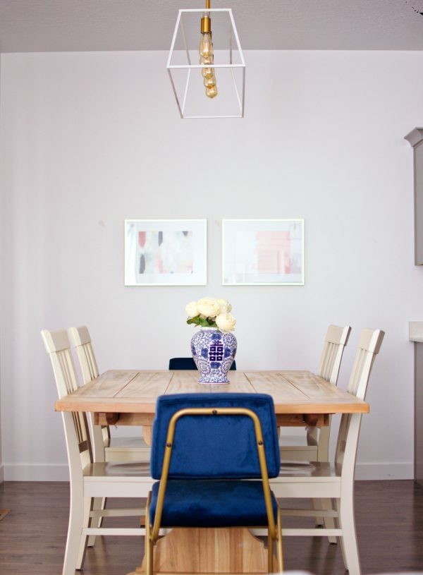 Using velvet chairs is an example of modern kitchen decor ideas.