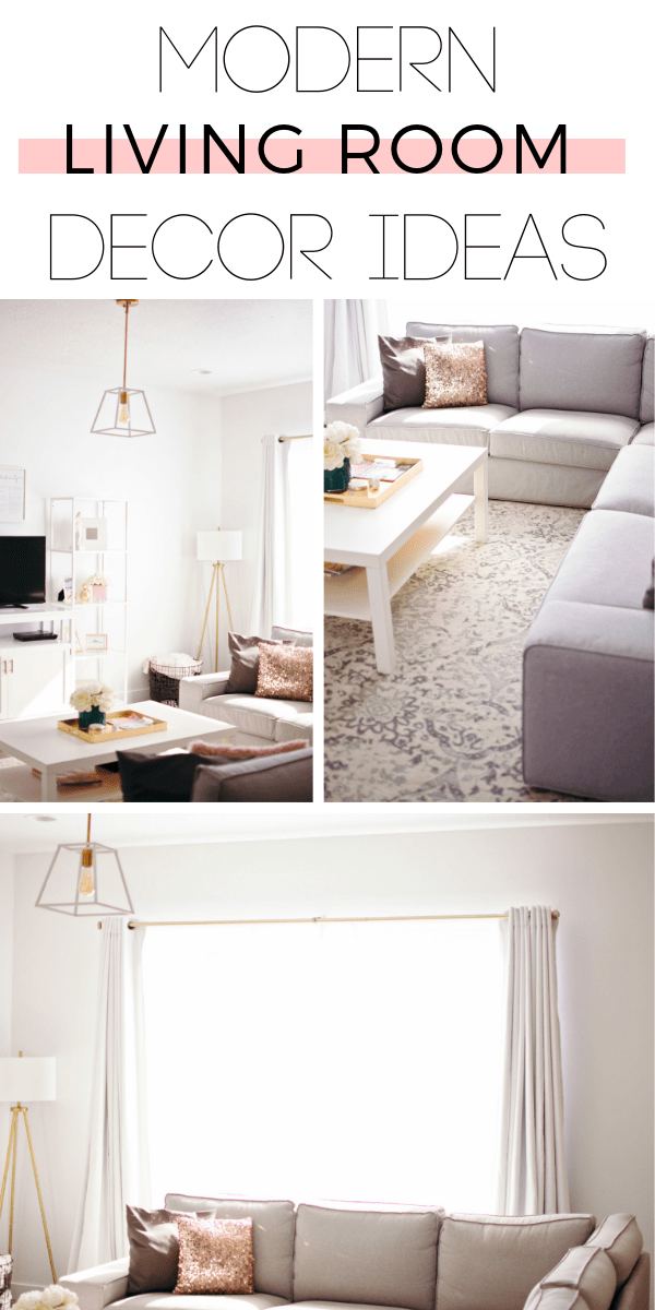 This modern living room decor is perfect for someone on a budget!