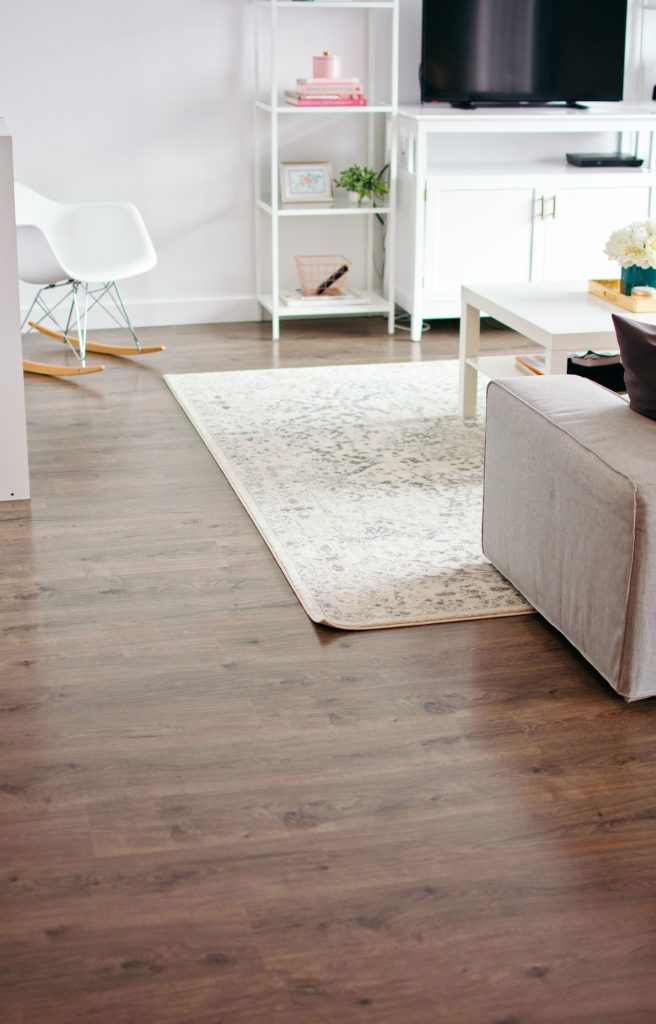 Clean living room laminate floors.
