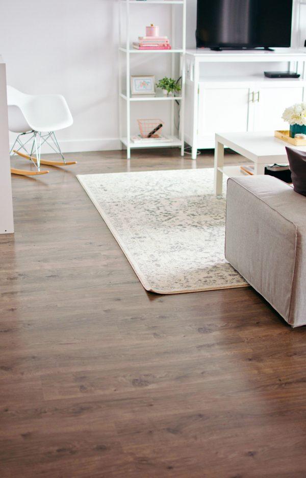 Living room floor after good laminate floor care.