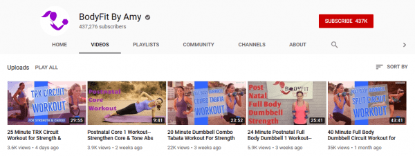 Free workout videos by BodyFit by Amy.