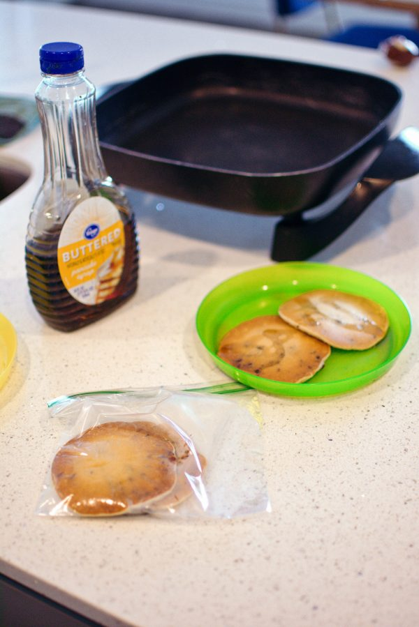 Freezing extra pancakes is a great mom hack for food.