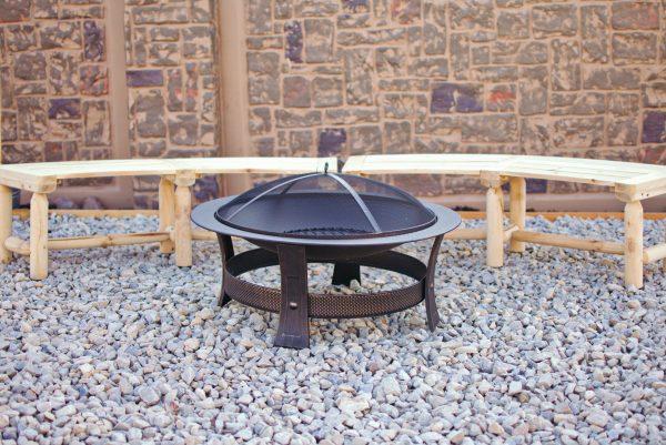 Lowes fire pit in backyard