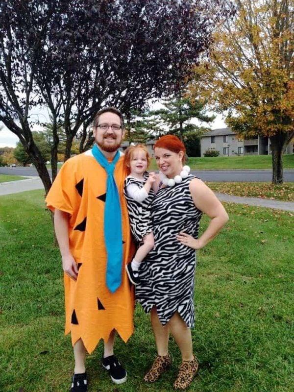 Flinstones family Halloween costume idea.
