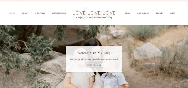 The Love Love Love blog homepage.