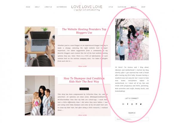 A blog sidebar example.