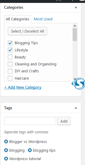 How to add categories and tags in WordPress.