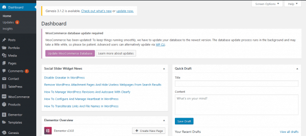 The WordPress dashboard login.