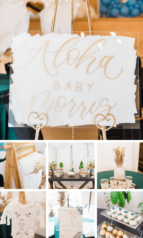 Modern baby shower collage with tropical theme.