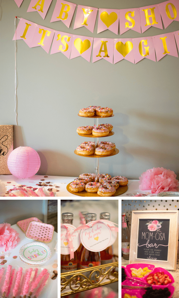 Modern baby shower theme with Pink and Gold accents and donuts.