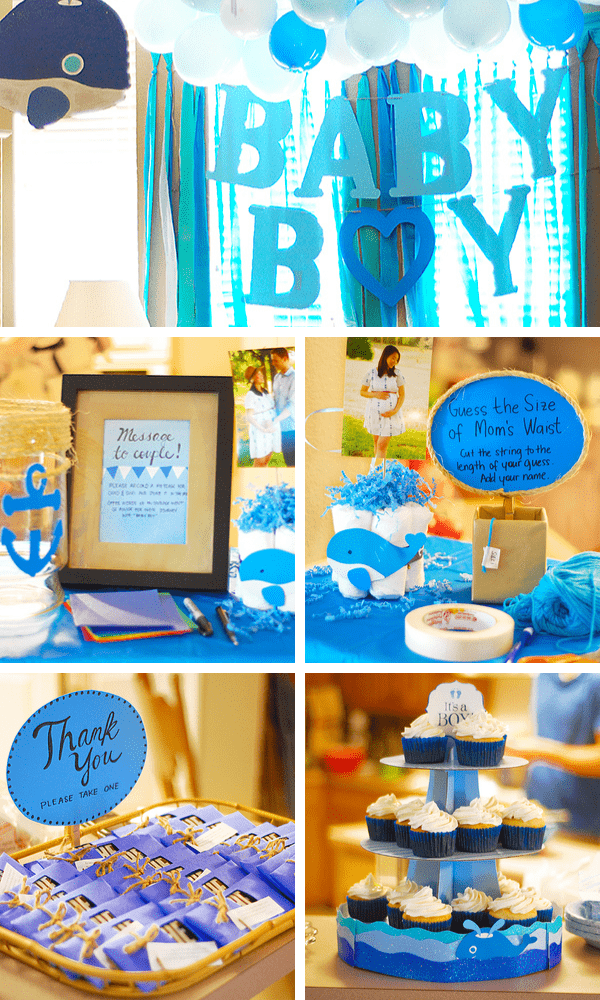 Modern baby shower with whale theme and blue accents.