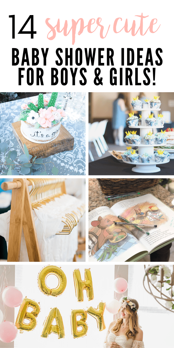 A Pinterest image with text and a collage of different baby shower themes.