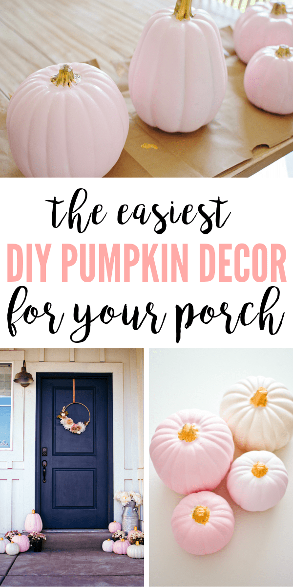 Fall porch decorating ideas using simple and cheap painted pumpkins.