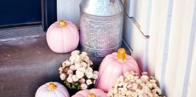 Painted pumpkins for front porch decorating ideas for fall.