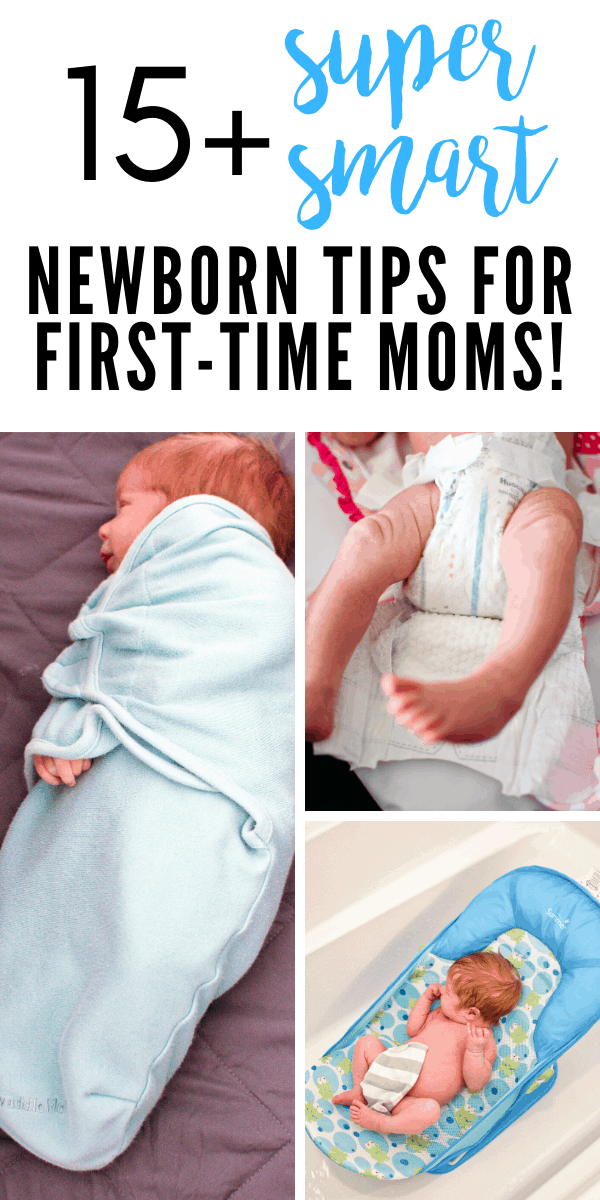 A Pinterest image with text and a collage of a newborn baby photos.