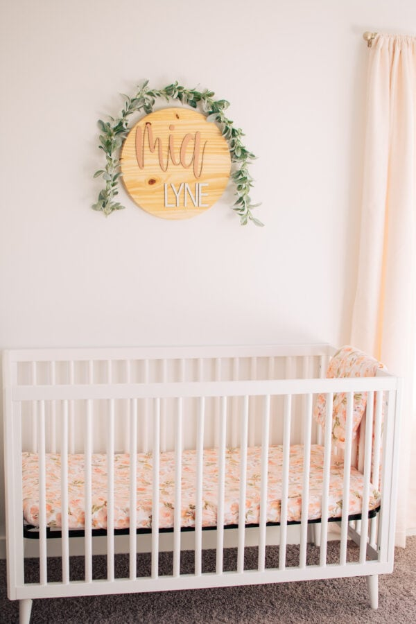 Baby girl nursery ideas with peach and florals.