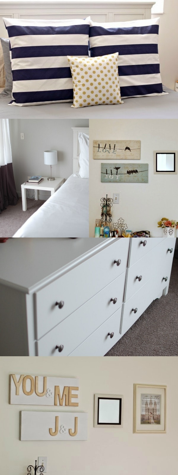 Bedroom decor collage before modern makeover