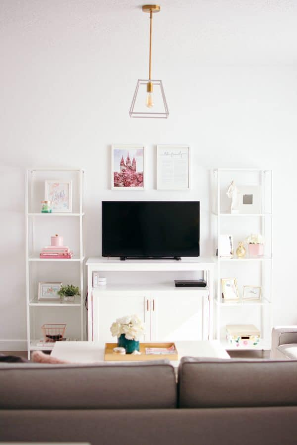 Modern living room decor and tv stand.