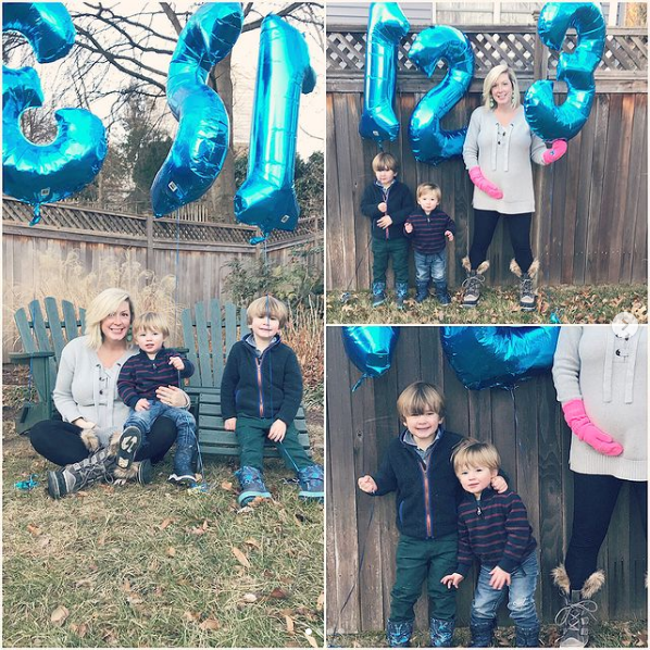 Collage of family announcing a baby with number balloons.