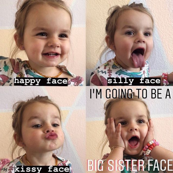Collage of little girl making silly faces for a baby announcement.