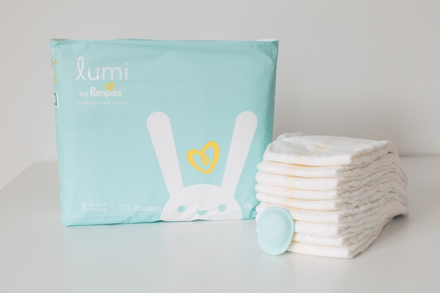 Lumi diapers and sleep sensor on a table.