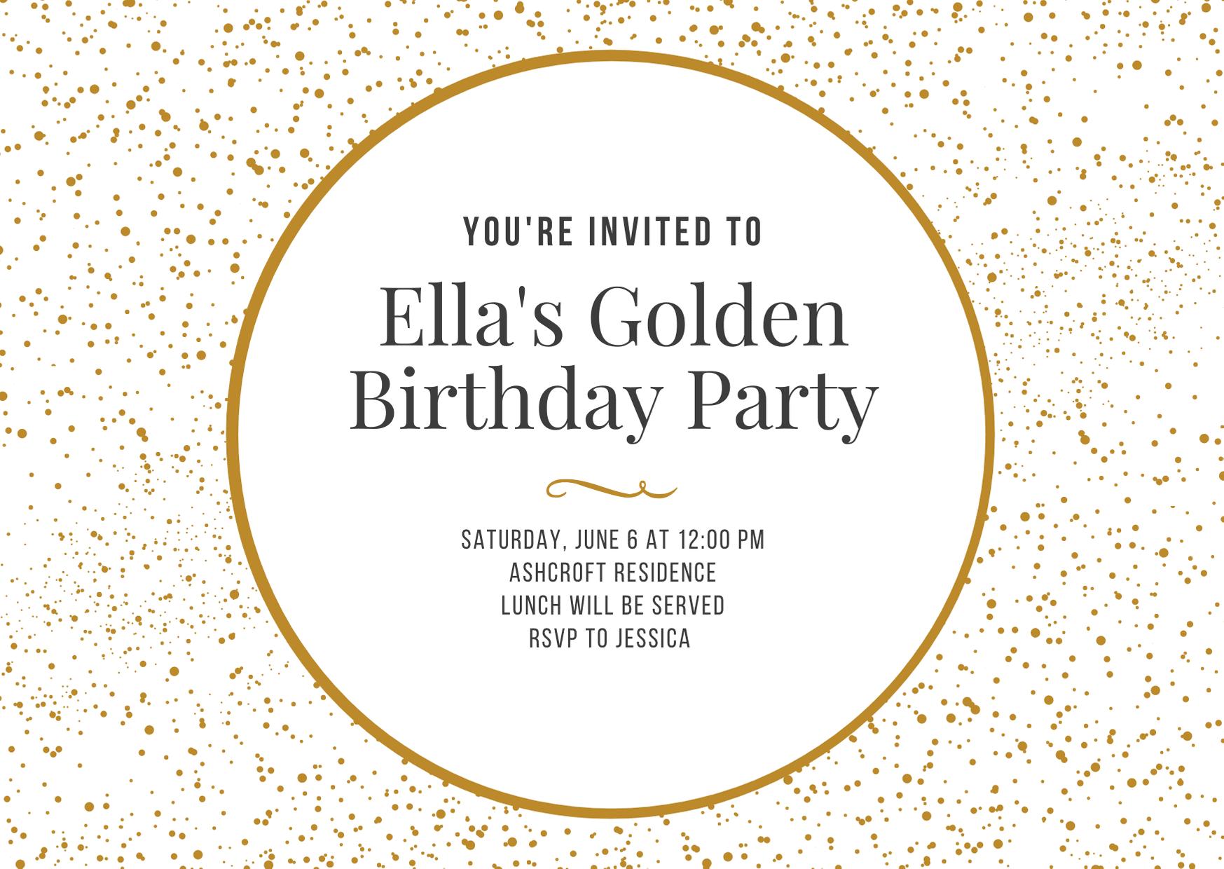 Golden birthday part invitation