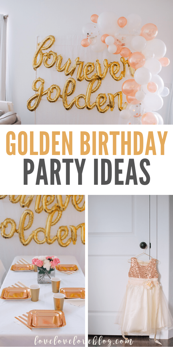 Lots of golden birthday party ideas for girls.