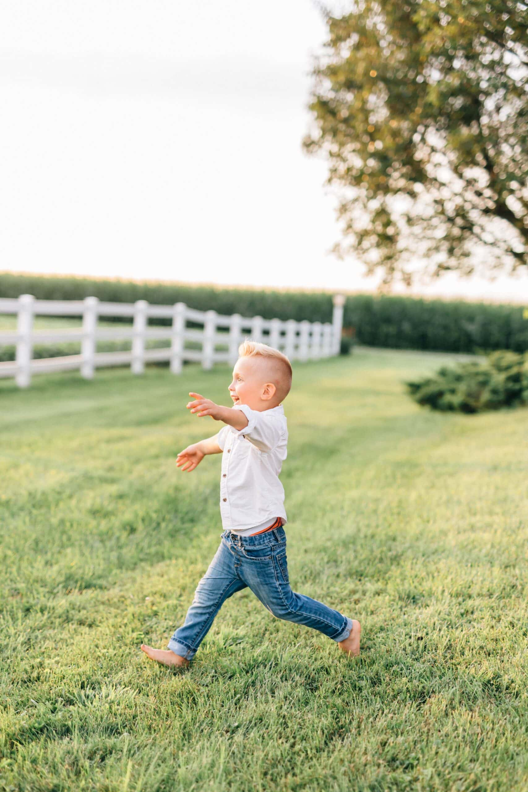 Toddler boy runs on a lawn.