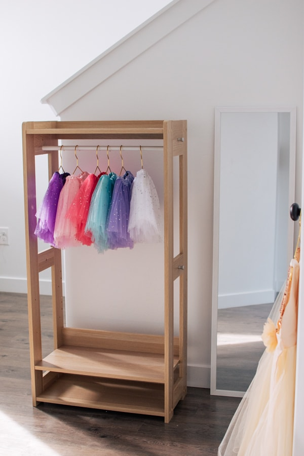 Tutu skirt birthday favors hang on clothing rack.
