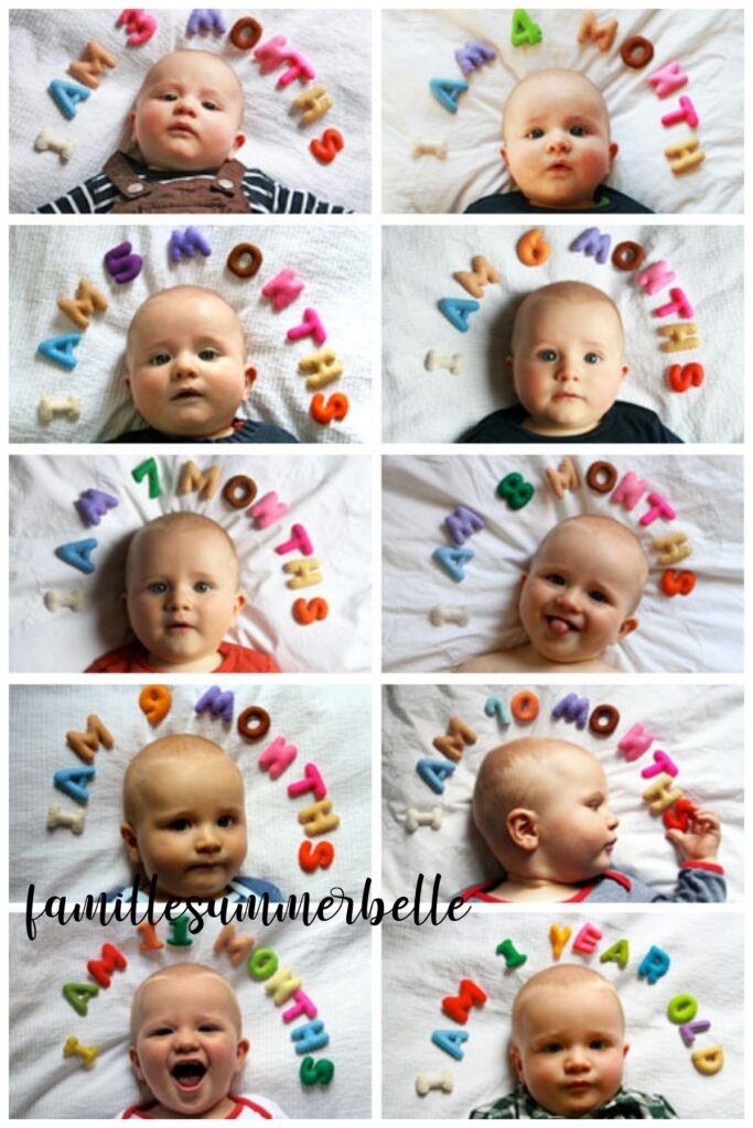 Collage of felt letter monthly baby photos.