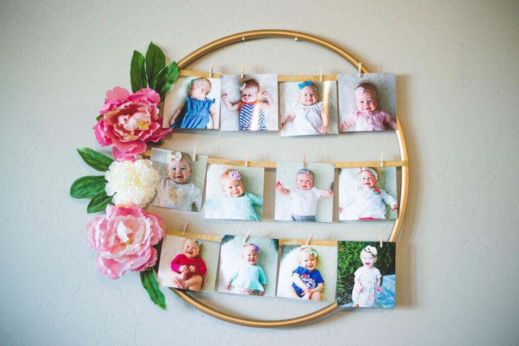 Floral hoop photo display on wall.