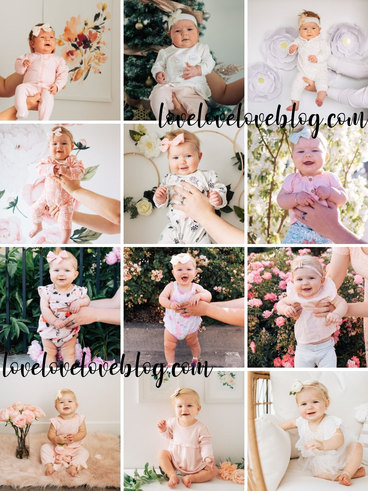 Collage of floral monthly baby photos.