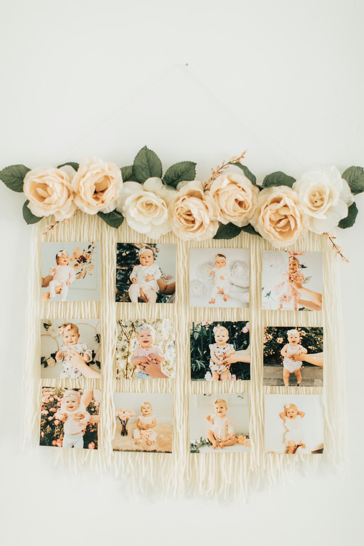 Floral yarn photo display on wall.