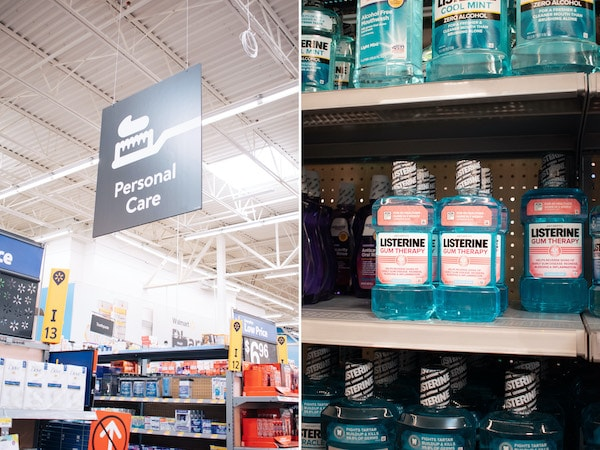 Bottles of Listerine on Walmart shelves.