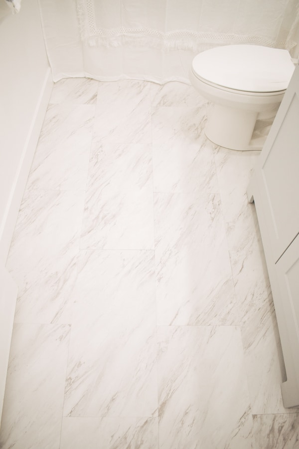 Marble peel and stick tile floor.