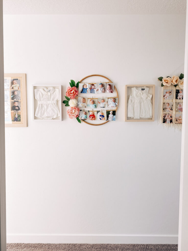 Monthly photo displays on wall.