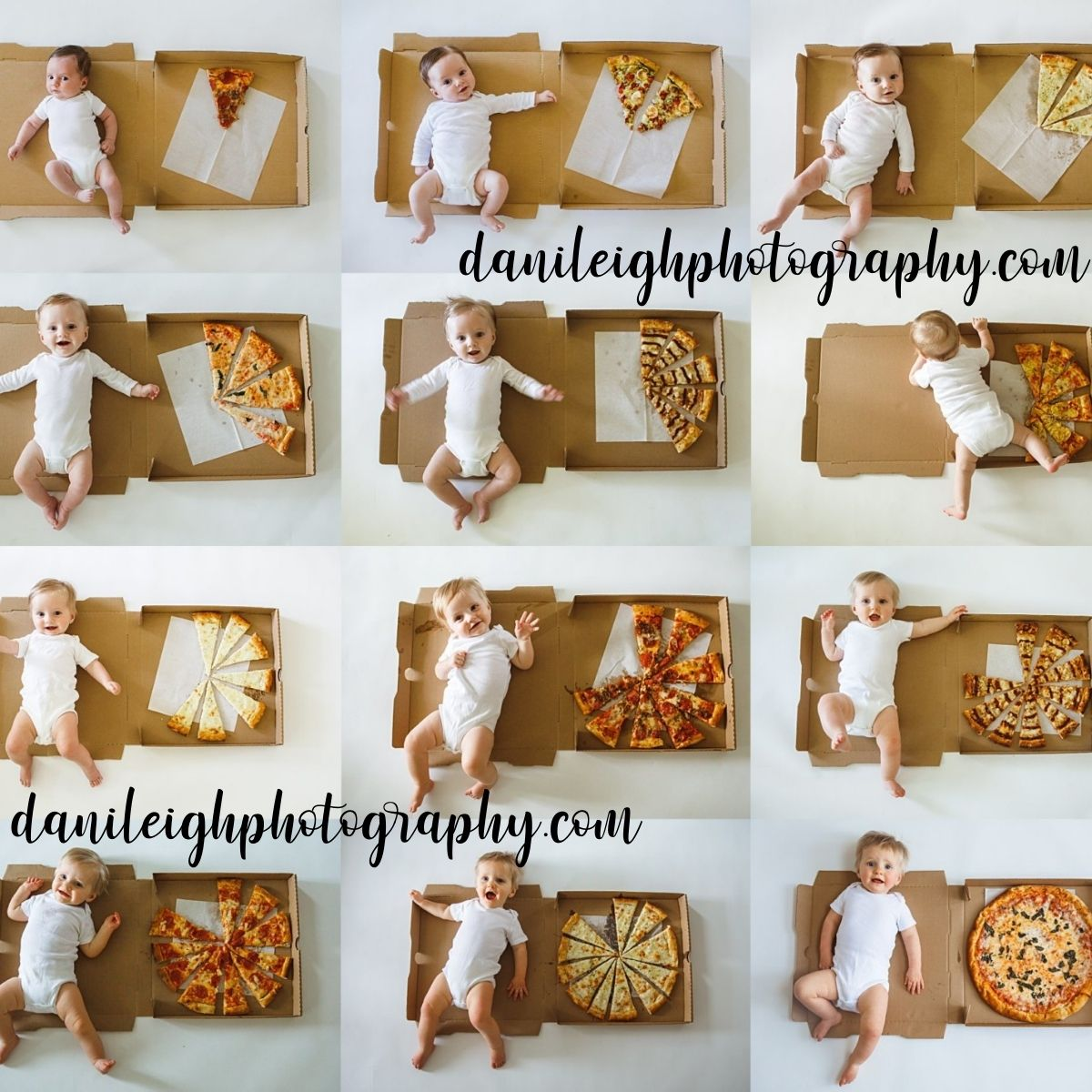Collage of pizza monthly baby photos.