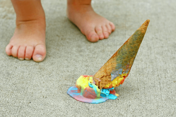 Toddler dropping an ice cream cone is example of affordable mistakes.