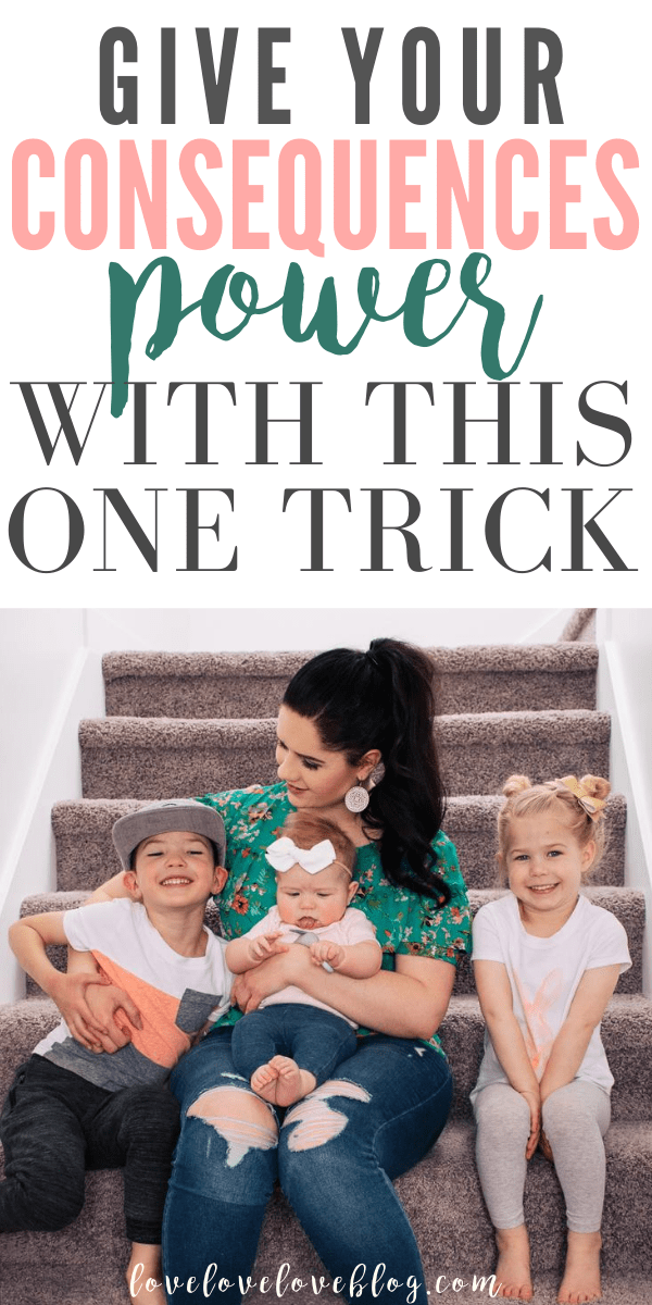 A Pinterest image with text and a mom sitting on the stairs smiling at her 3 kids.