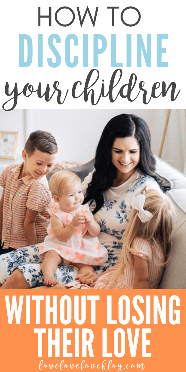 A Pinterest image with text and a mom sitting on a couch smiling at her 3 kids.