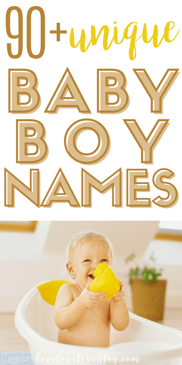 A Pinterest image with text and a little boy playing in the tub with a rubber duck.