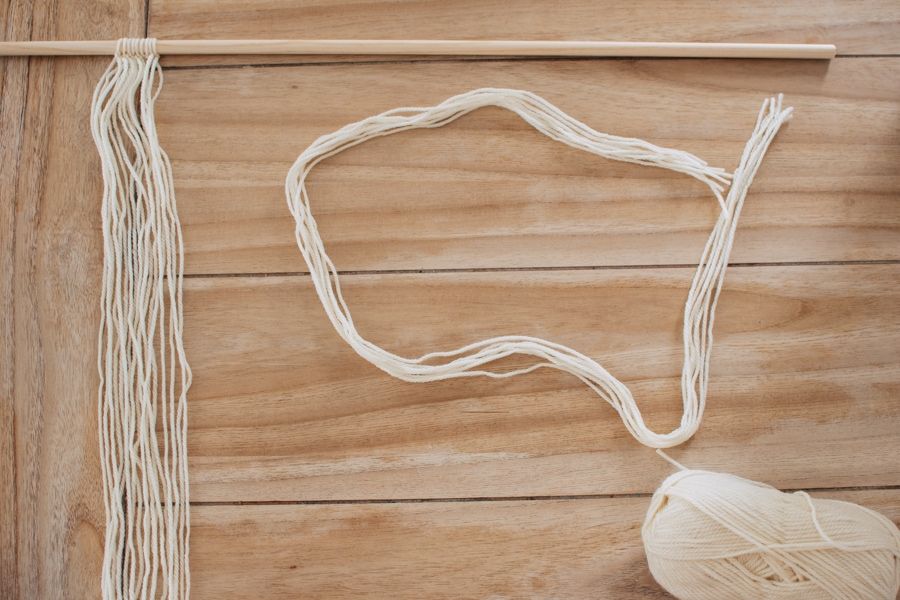 Materials for a DIY yarn hanging