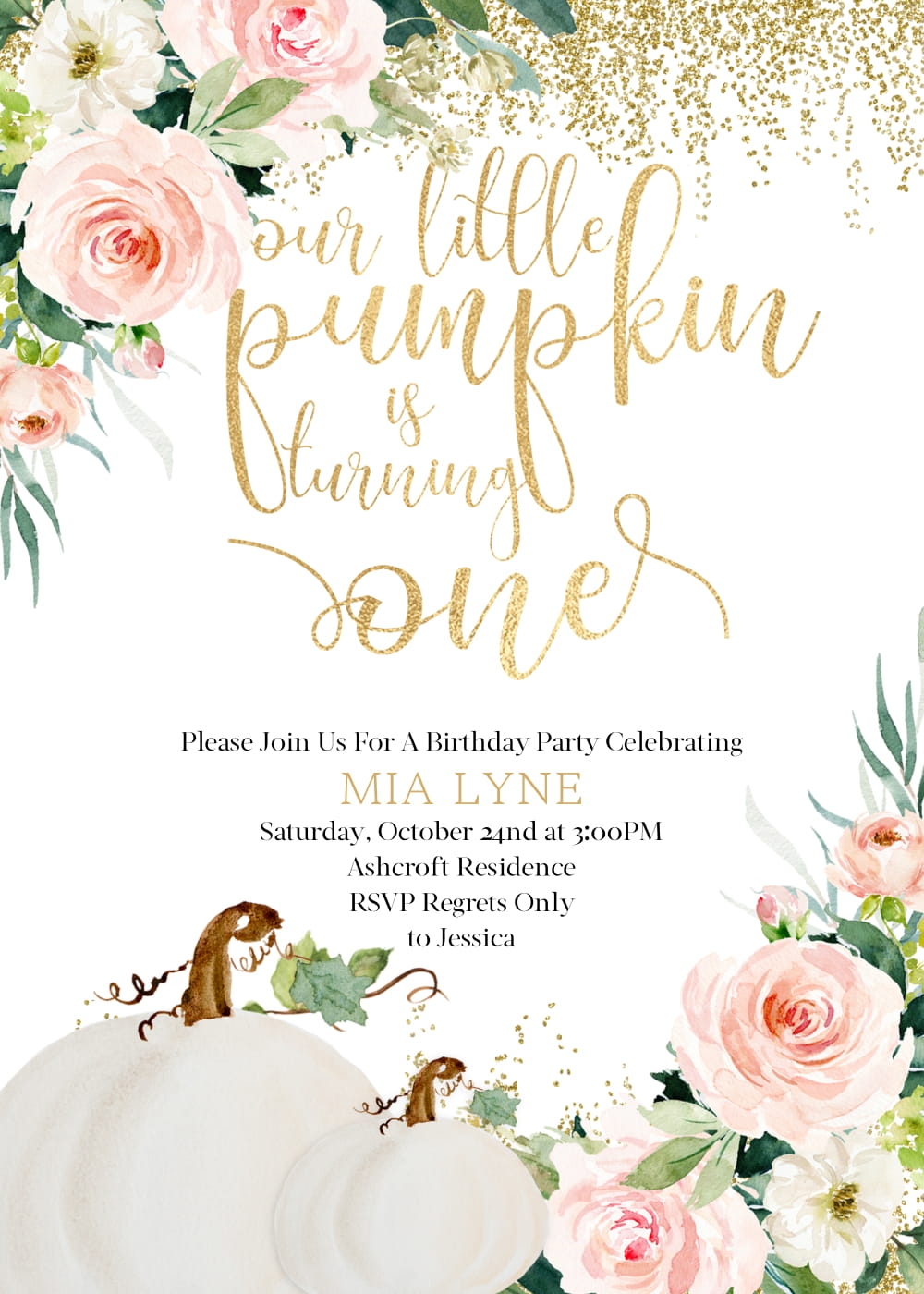 Our little pumpkin turning one invitation