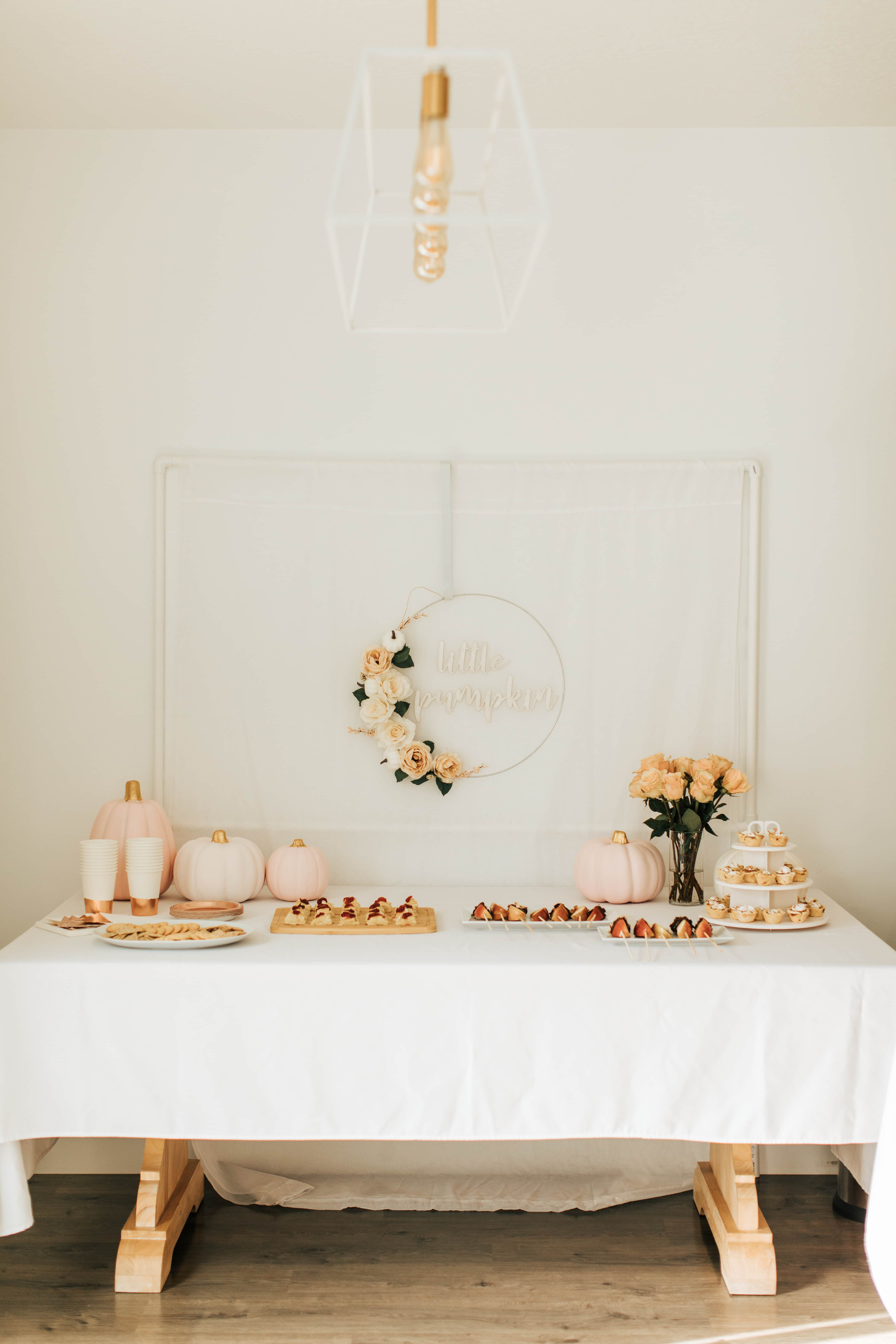Pumpkin birthday food table.