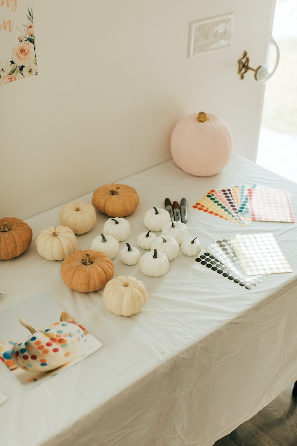 Pumpkin decorating table